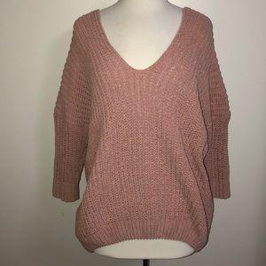 Oversize blush pink longsleeve velvet soft sweater